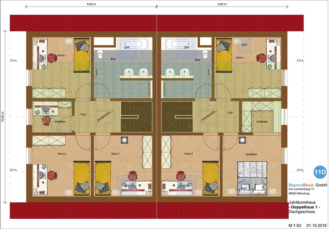 Doppelhaus Variante 1 Dachgeschoss