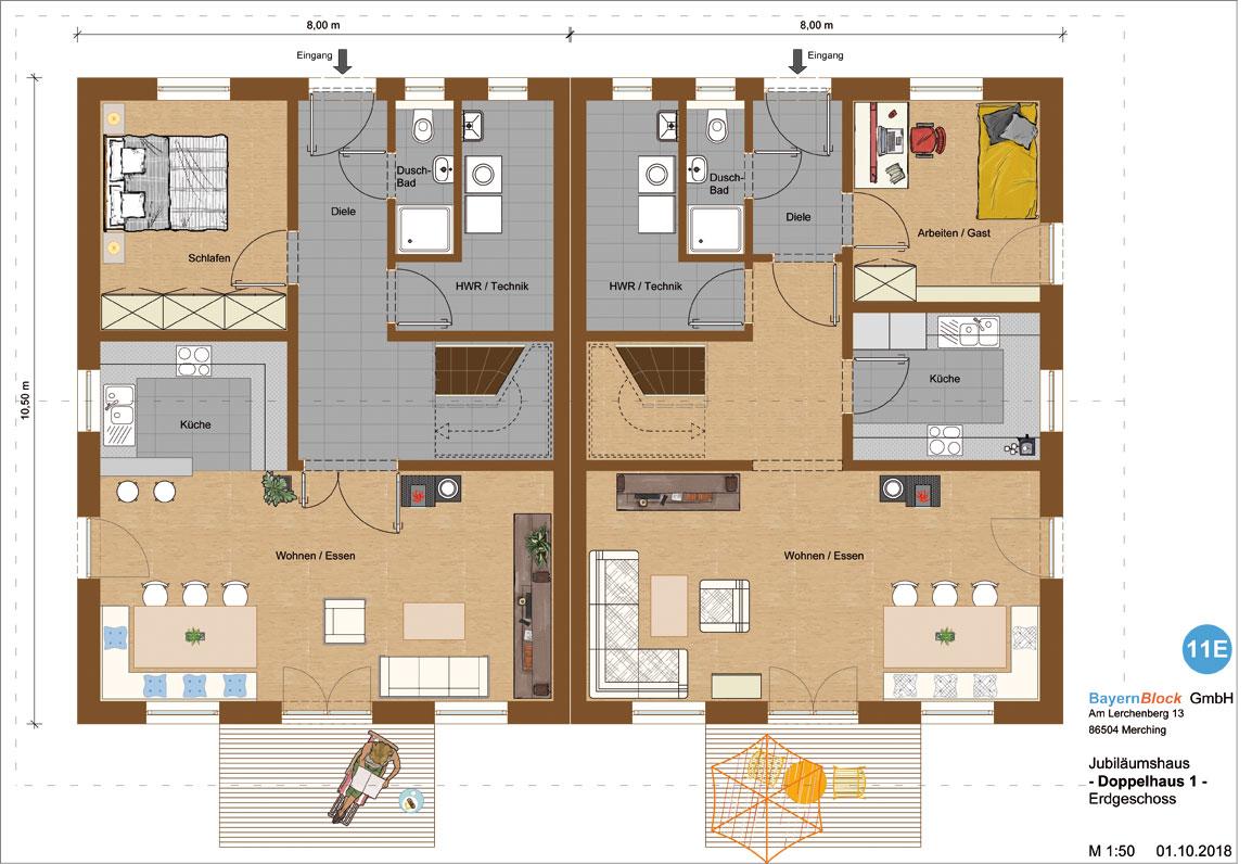 Doppelhaus Variante 1 Erdgeschoss