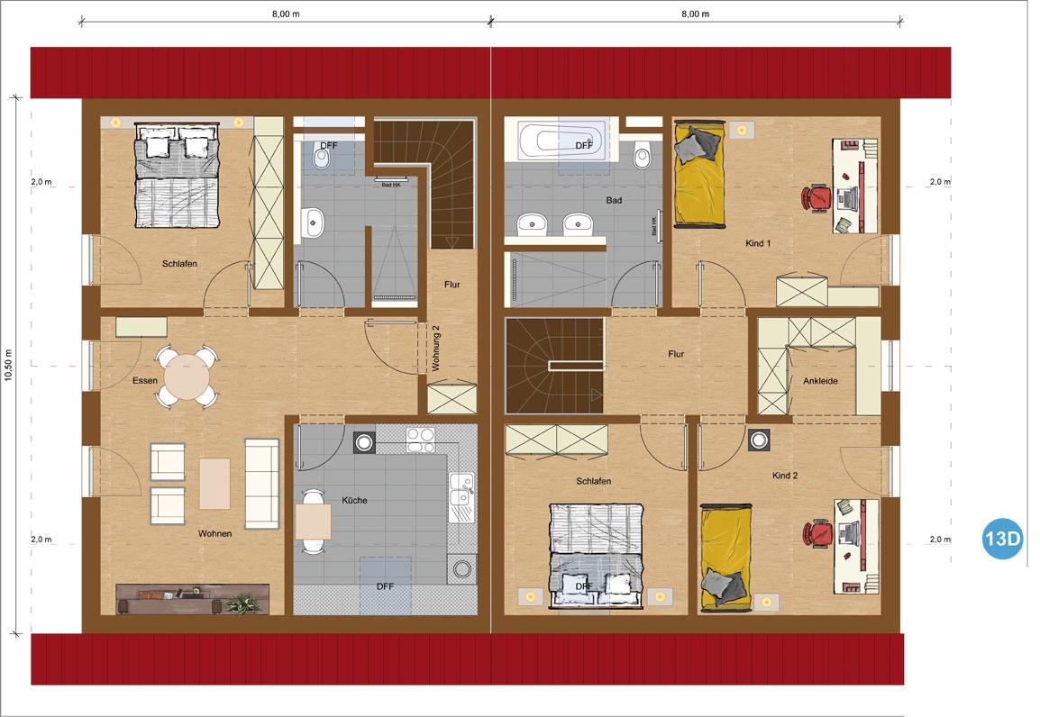 Doppelhaus Variante 2 Dachgeschoss