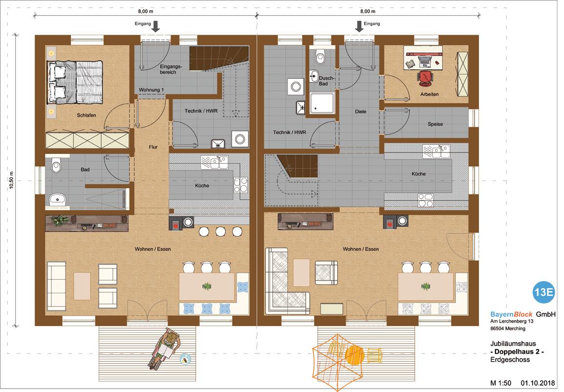 Doppelhaus Variante 2 Erdgeschoss
