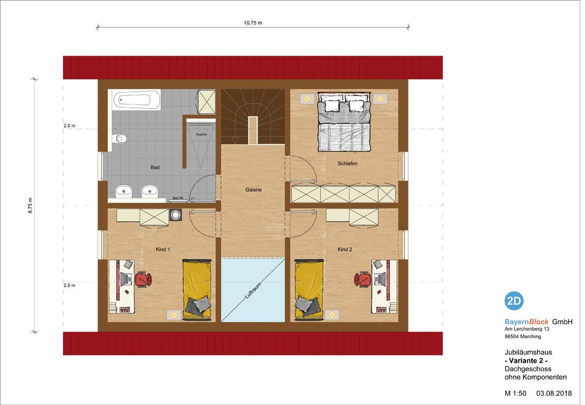 Jubiläumshaus Variante 3 - Dachgeschoss ohne Komponenten