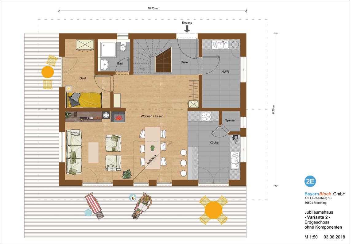 Jubiläumshaus Variante 2 - Erdgeschoss ohne Komponenten