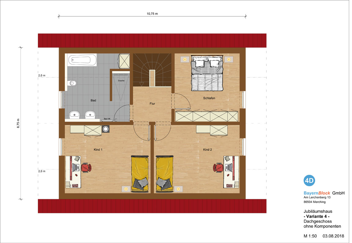 Jubiläumshaus Variante 4 - Dachgeschoss ohne Komponenten