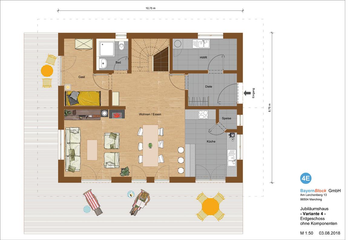Jubiläumshaus Variante 4 - Erdgeschoss ohne Komponenten