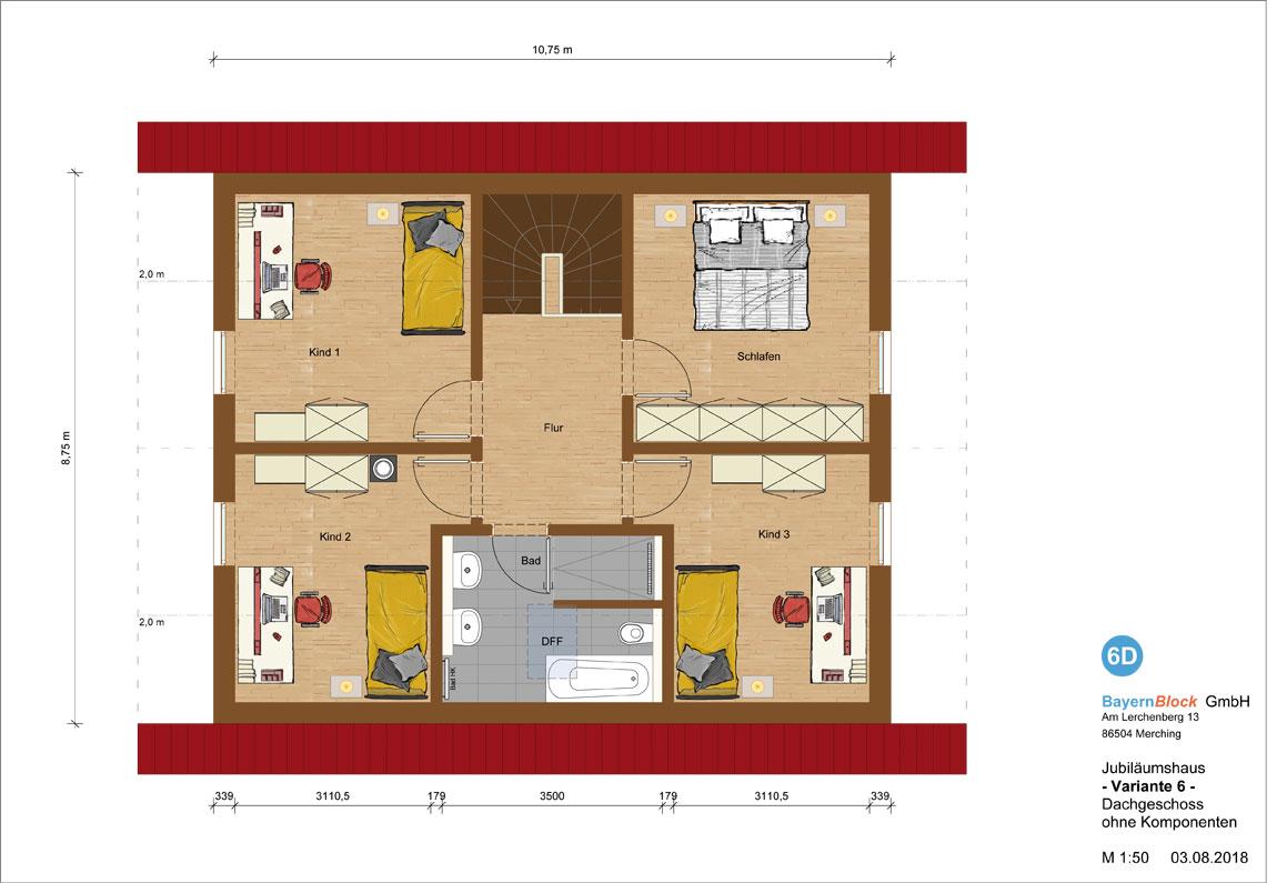 Jubiläumshaus Variante 6 - Dachgeschoss ohne Komponenten