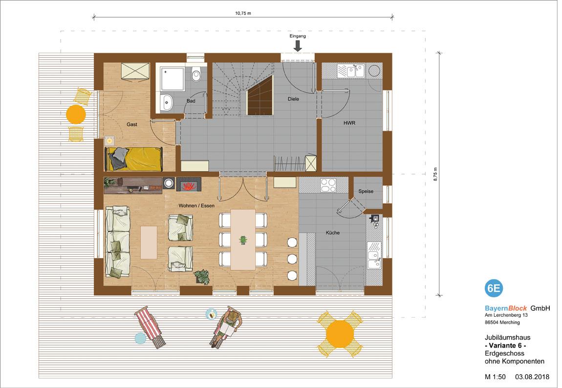 Jubiläumshaus Variante 6 - Erdgeschoss ohne Komponenten