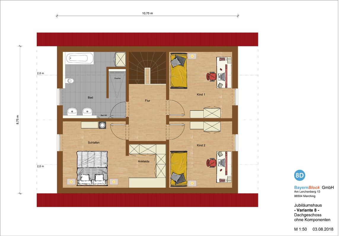 Jubiläumshaus Variante 8 - Dachgeschoss ohne Komponenten