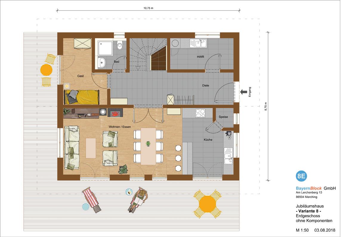 Jubiläumshaus Variante 8 - Erdgeschoss ohne Komponenten