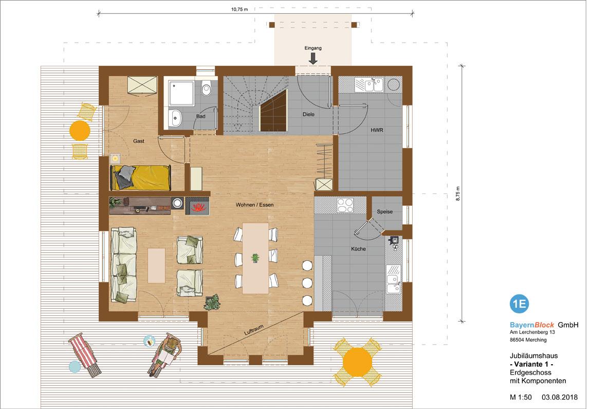 Jubiläumshaus Variante 1 - Erdgeschoss mit Komponenten