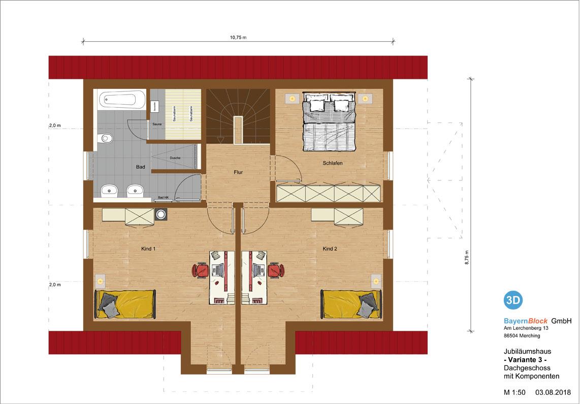 Jubiläumshaus Variante 3 - Dachgeschoss mit Komponenten