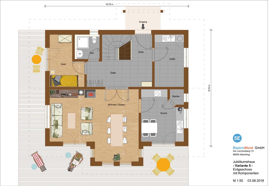 Jubiläumshaus Variante 5 - Erdgeschoss mit Komponenten