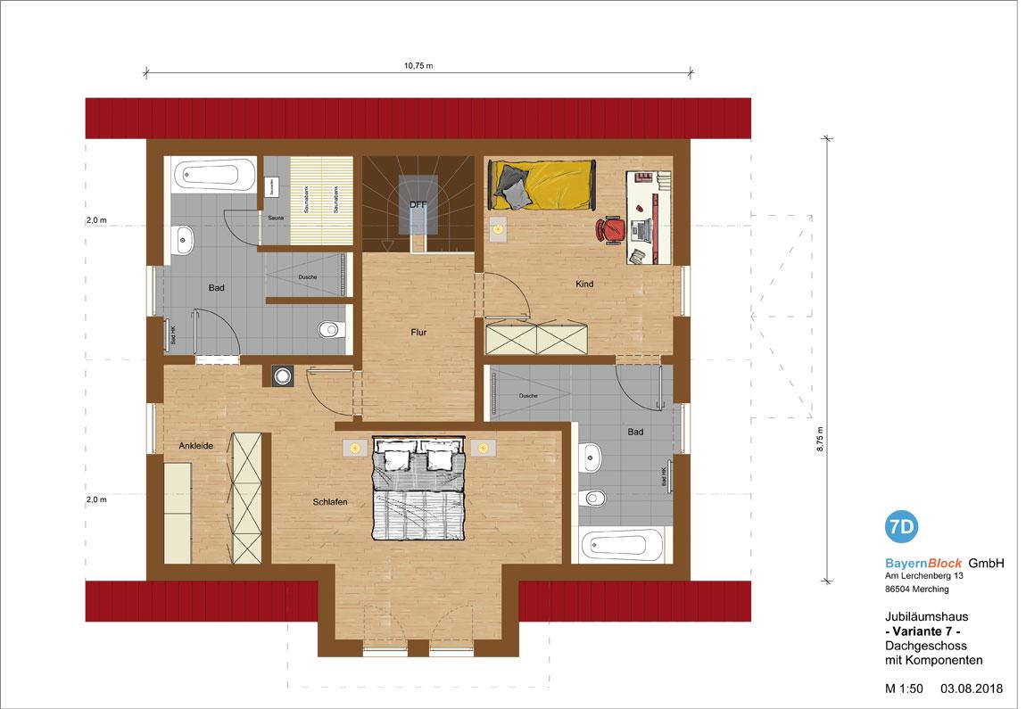 Jubiläumshaus Variante 7 - Dachgeschoss mit Komponenten