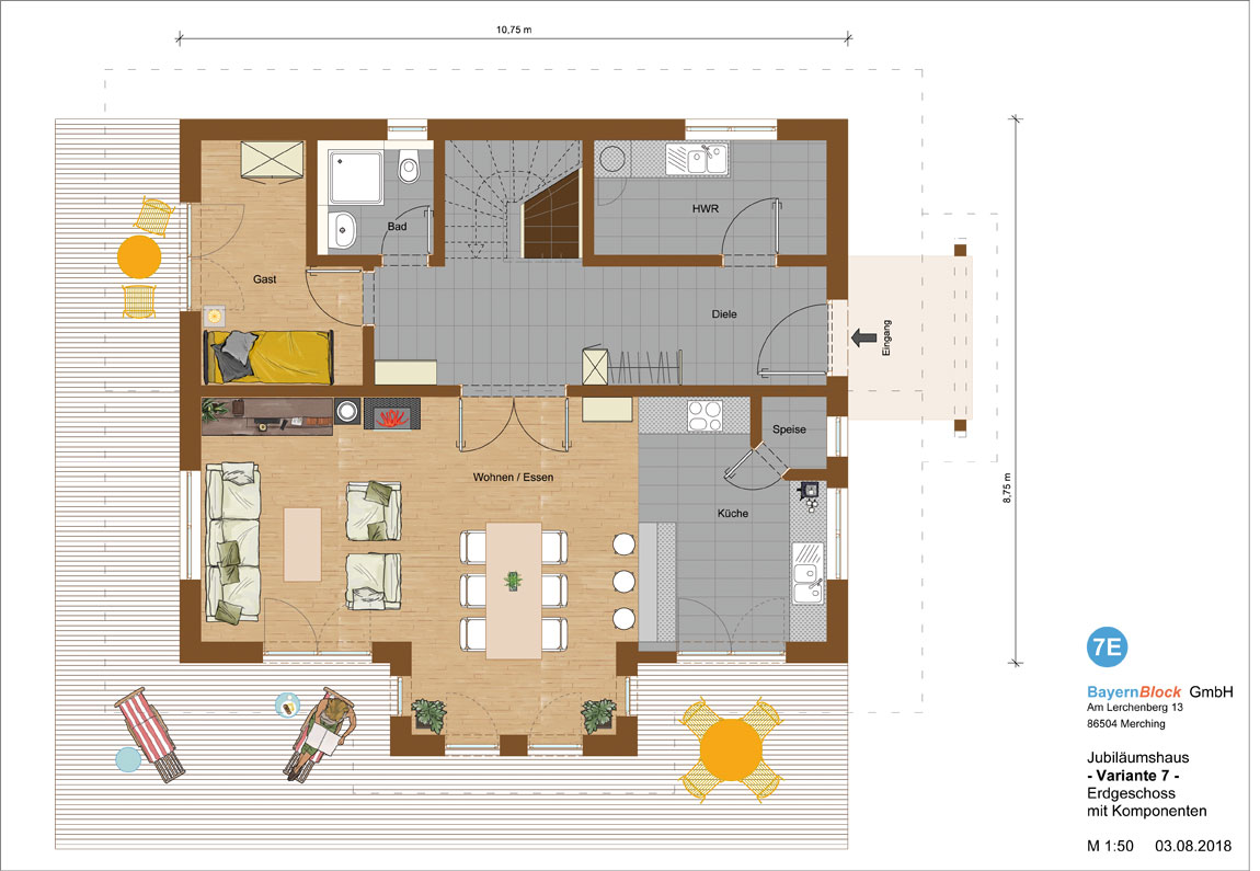 Jubiläumshaus Variante 7 - Erdgeschoss mit Komponenten